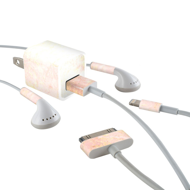 iPhone Earphone, Power Adapter, Cable Skin design of Pink, Peach, Wallpaper, Pattern with pink, yellow, orange colors