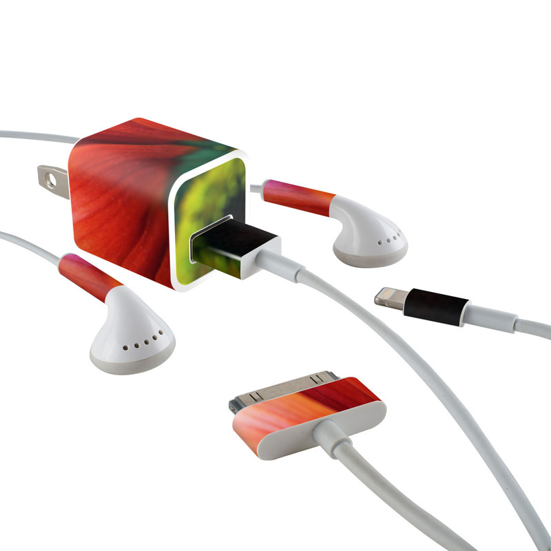 Scarlet Gerbera iPhone Earphone, Power Adapter, Cable Skin