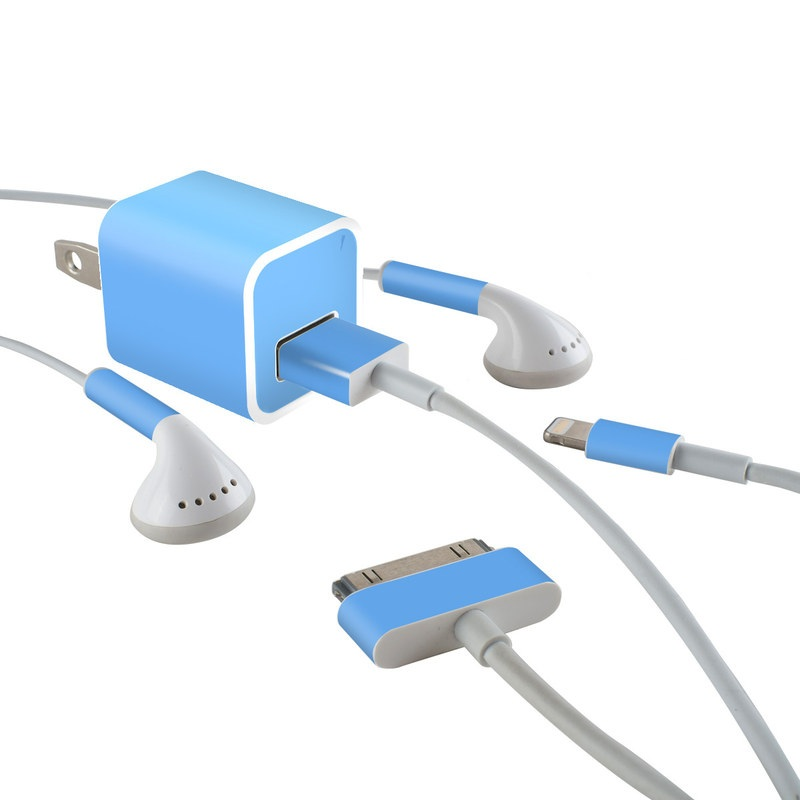 Solid State Blue iPhone Earphone, Power Adapter, Cable Skin