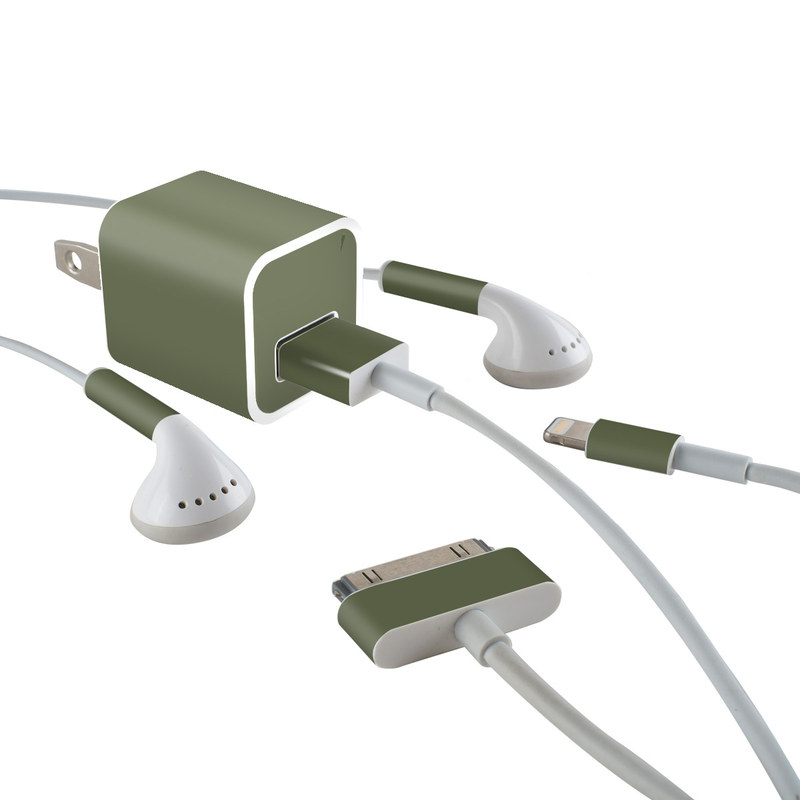iPhone Earphone, Power Adapter, Cable Skin design of Green, Brown, Text, Yellow, Grass, Font, Pattern, Beige with green colors