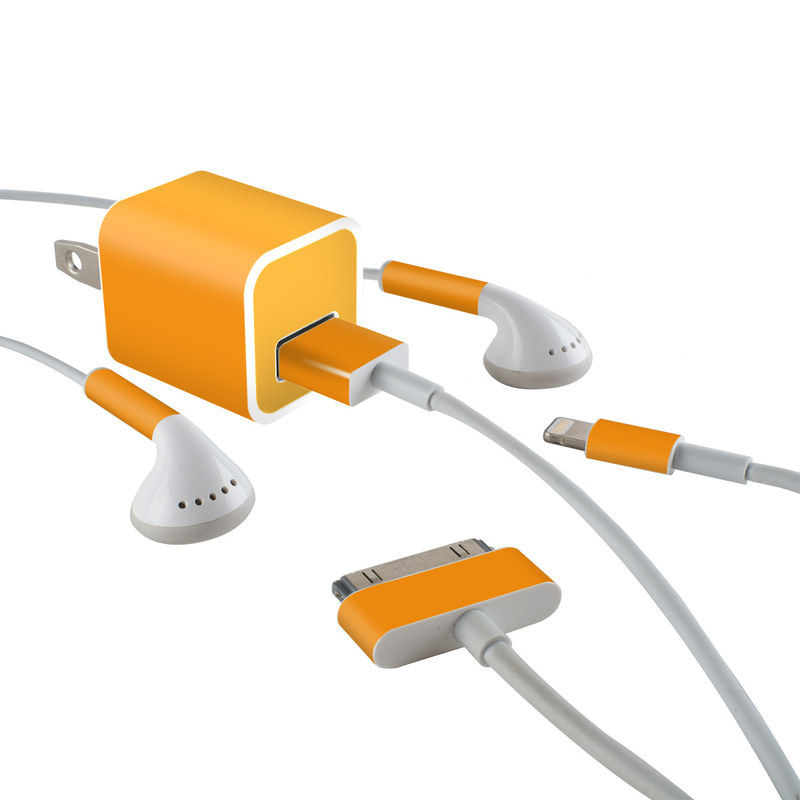 Solid State Orange iPhone Earphone, Power Adapter, Cable Skin