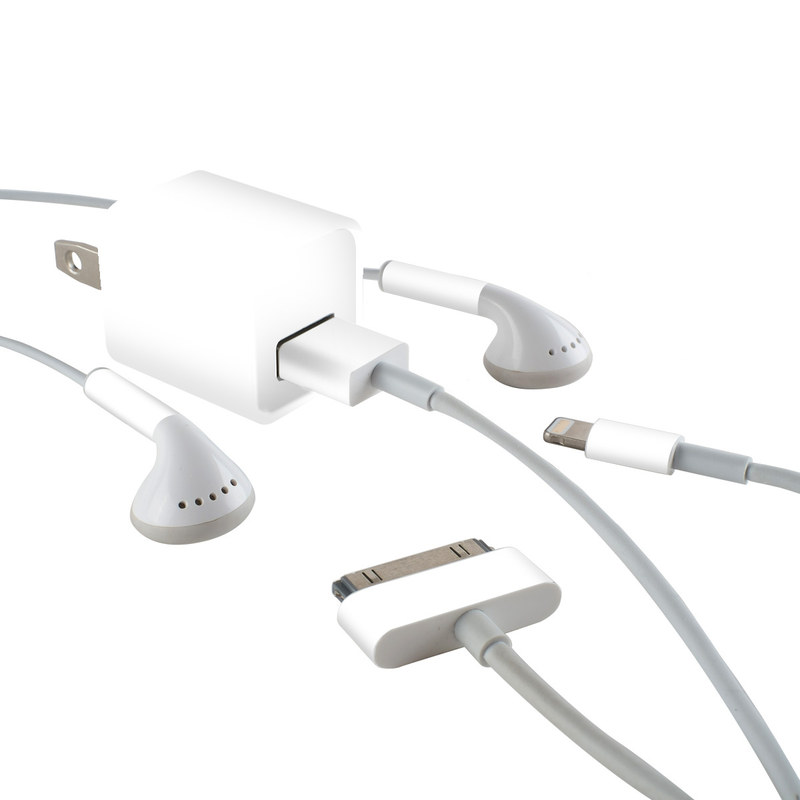 Solid State White iPhone Earphone, Power Adapter, Cable Skin
