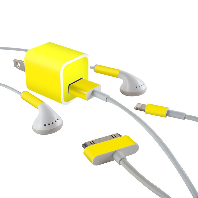 Solid State Yellow iPhone Earphone, Power Adapter, Cable Skin