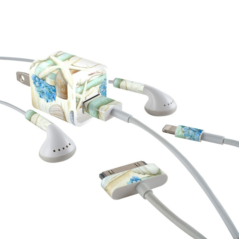 iPhone Earphone, Power Adapter, Cable Skin design of Starfish, Shell, Hydrangea, Plant, Flower, Still life, Echinoderm, Cornales with gray, green, blue, yellow colors