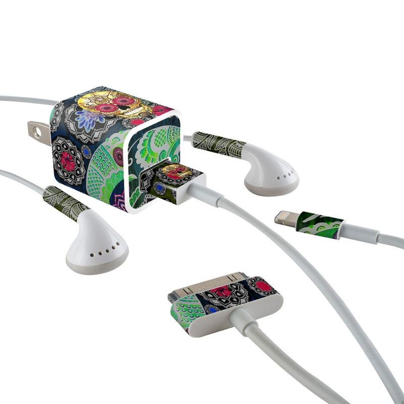 Sugar Skull Paisley iPhone Earphone, Power Adapter, Cable Skin