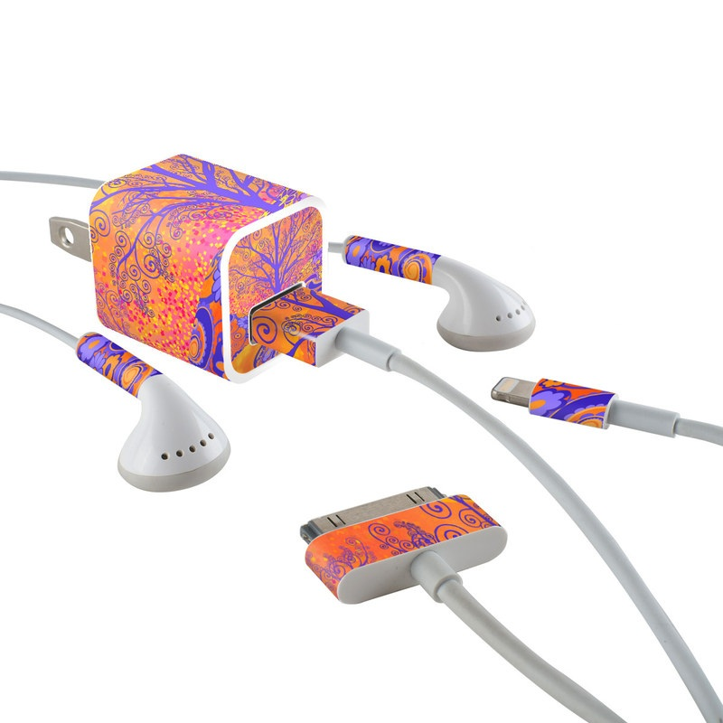 iPhone Earphone, Power Adapter, Cable Skin design of Blue, Orange, Art, Acrylic paint, Modern art, Pattern, Visual arts, Painting, Majorelle blue, Psychedelic art with orange, yellow, red, purple colors