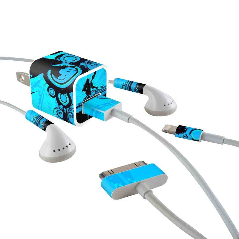 iPhone Earphone, Power Adapter, Cable Skin design of Graphic design, Illustration, Graphics, Art with blue, black colors