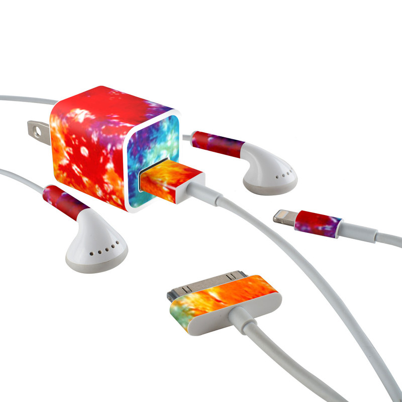 iPhone Earphone, Power Adapter, Cable Skin design of Orange, Watercolor paint, Sky, Dye, Acrylic paint, Colorfulness, Geological phenomenon, Art, Painting, Organism with red, orange, blue, green, yellow, purple colors