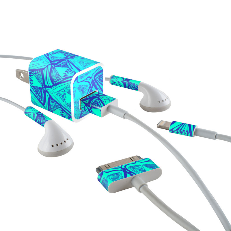 Tribal Beat iPhone Earphone, Power Adapter, Cable Skin