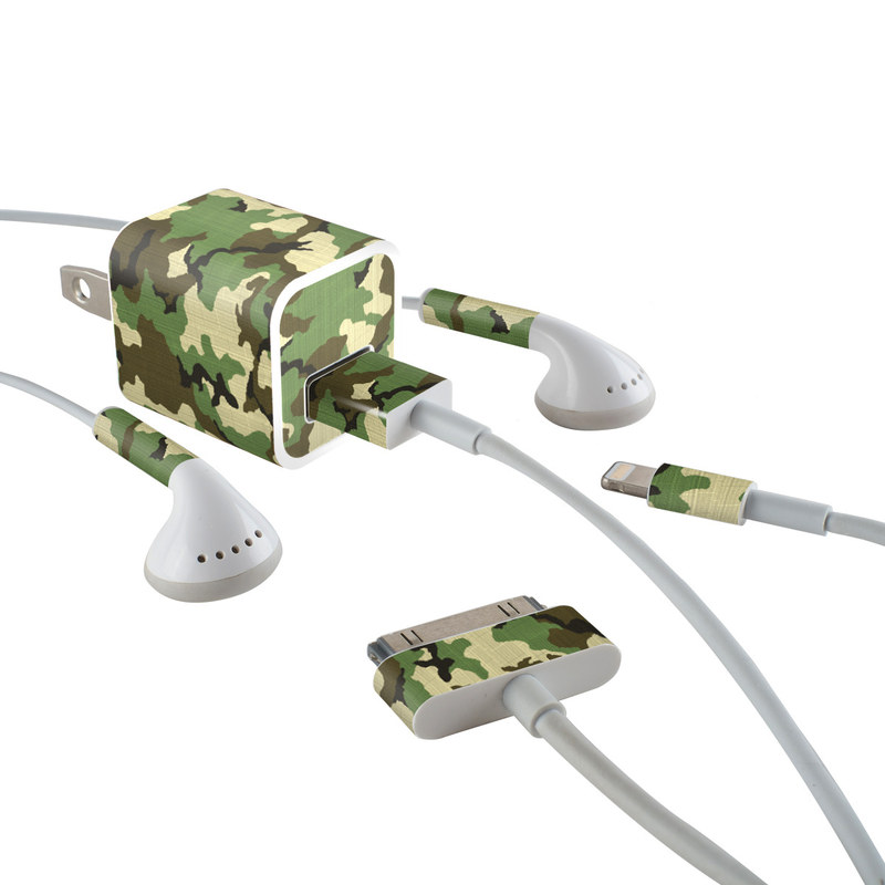 Woodland Camo iPhone Earphone, Power Adapter, Cable Skin
