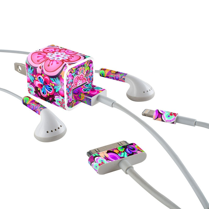 iPhone Earphone, Power Adapter, Cable Skin design of Pattern, Pink, Design, Textile, Magenta, Art, Visual arts, Paisley with purple, black, red, gray, blue colors