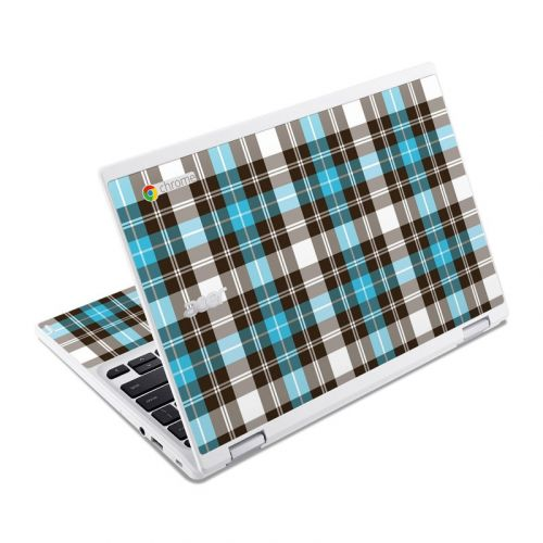 Turquoise Plaid Acer Chromebook R 11 Skin