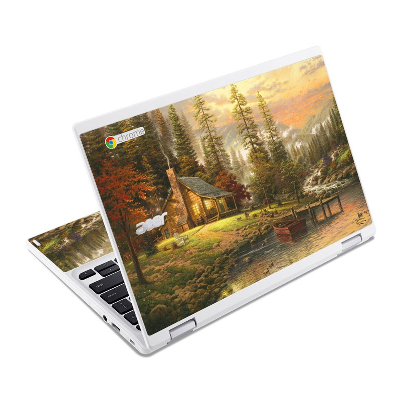 Acer Chromebook R 11 Skin design of Natural landscape, Nature, Painting, Tree, Landscape, Morning, Sky, Biome, Sunlight, Forest with orange, red, green, brown colors