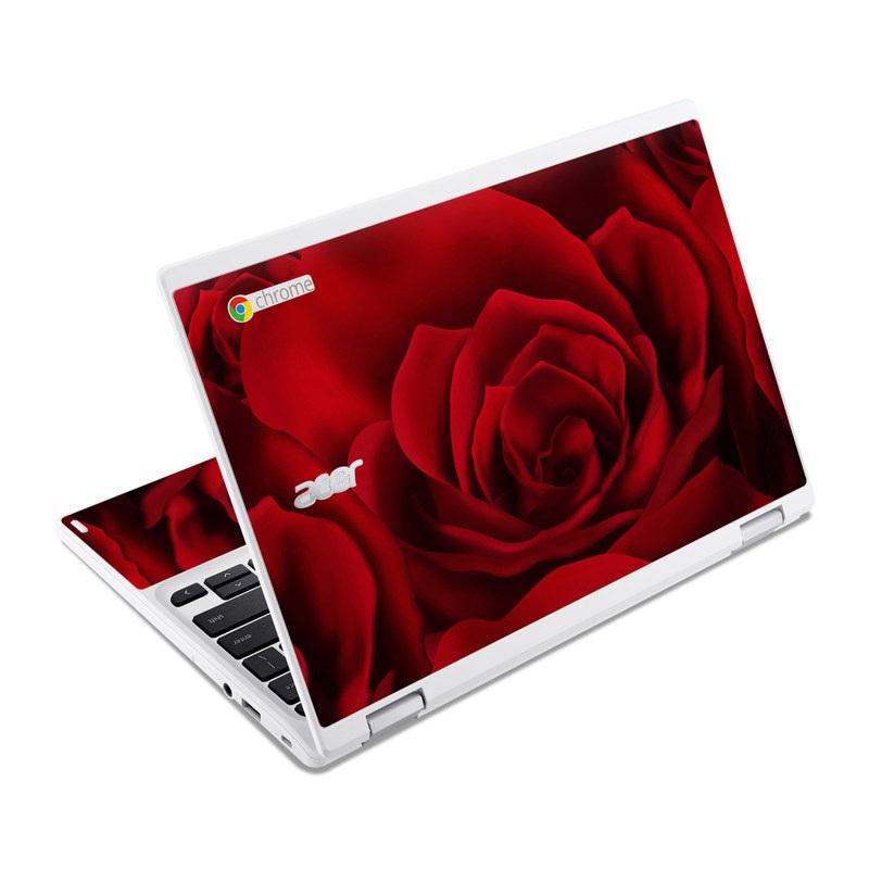 Acer Chromebook R 11 Skin design of Red, Garden roses, Rose, Petal, Flower, Nature, Floribunda, Rose family, Close-up, Plant with black, red colors