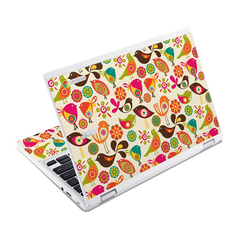 Acer Chromebook R 11 Skin design of Pattern, Visual arts, Wrapping paper, Design, Clip art, Textile, Motif, Sticker, Graphics with yellow, pink, orange, green, brown, blue colors