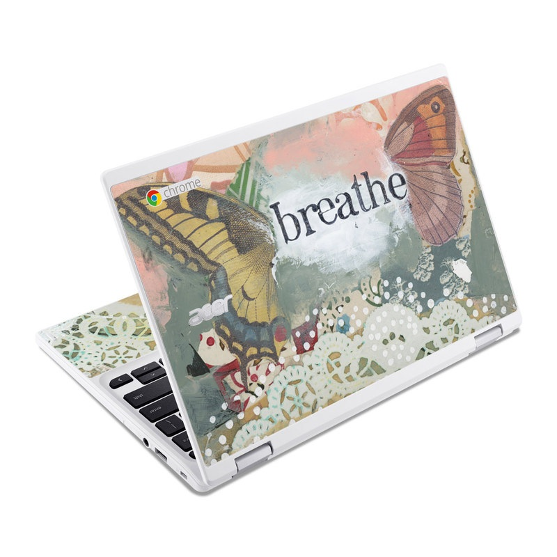 Acer Chromebook R 11 Skin design of Butterfly, Moths and butterflies, Insect, Pollinator, Organism, Illustration, Brush-footed butterfly, Art, Fictional character, Wildflower with pink, brown, white, black, red, blue, green colors