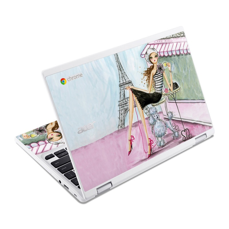 Acer Chromebook R 11 Skin design of Pink, Illustration, Sitting, Konghou, Watercolor paint, Fashion illustration, Art, Drawing, Style with gray, purple, blue, black, pink colors