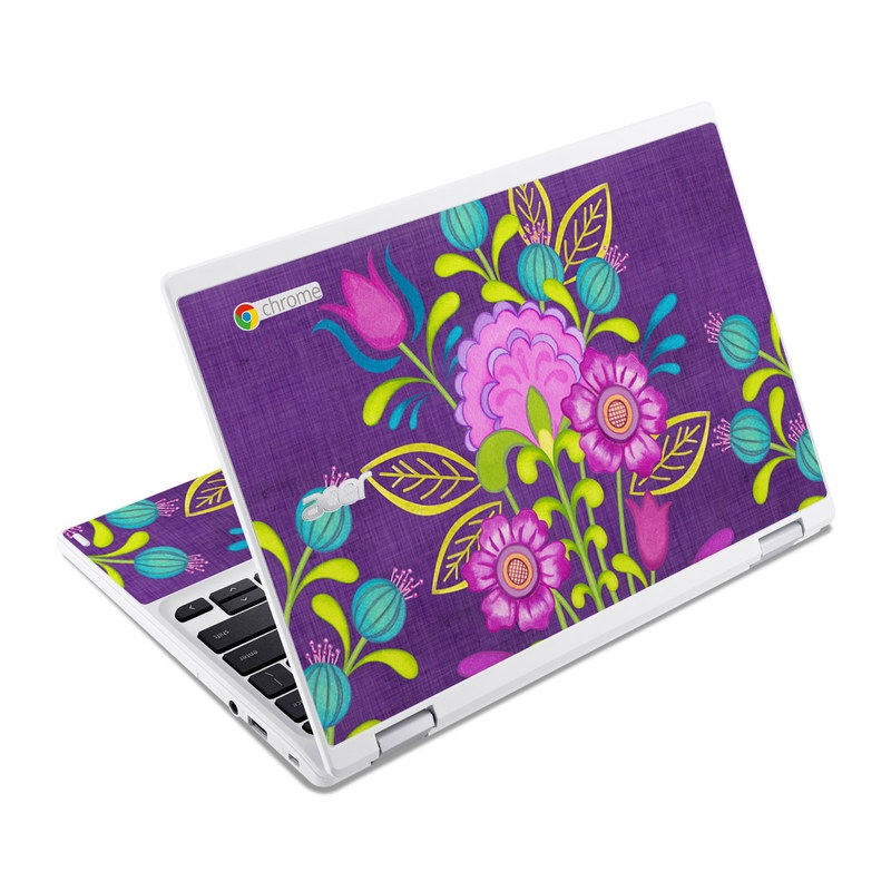 Acer Chromebook R 11 Skin design of Flower, Pattern, Plant, Violet, Botany, Visual arts, Design, Floral design, Art, Magenta with blue, purple, green, gray, red colors