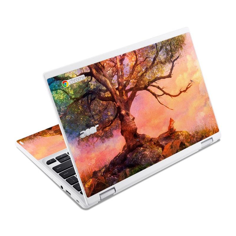 Acer Chromebook R 11 Skin design of Nature, Tree, Sky, Natural landscape, Branch, Leaf, Woody plant, Trunk, Landscape, Plant with pink, red, black, green, gray, orange colors