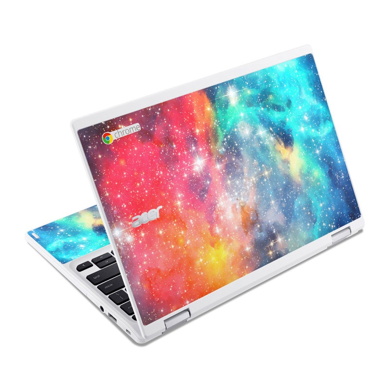 Acer Chromebook R 11 Skin design of Nebula, Sky, Astronomical object, Outer space, Atmosphere, Universe, Space, Galaxy, Celestial event, Star with white, black, red, orange, yellow, blue colors