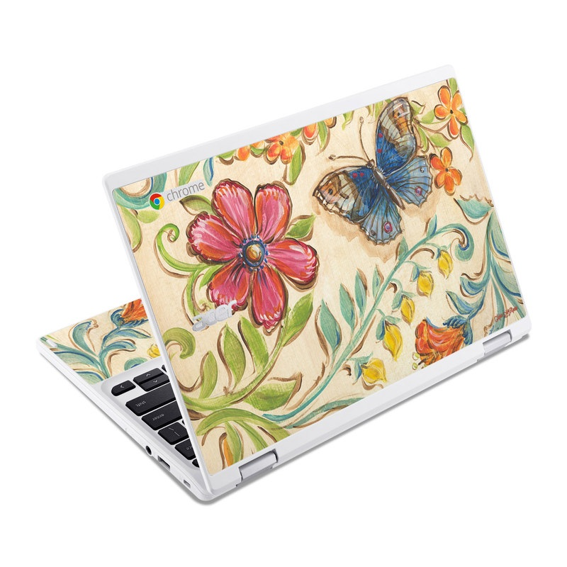 Acer Chromebook R 11 Skin design of Butterfly, Moths and butterflies, Insect, Pollinator, Plant, Pattern, Watercolor paint, Wildflower, Visual arts, Brush-footed butterfly with gray, pink, green, red, orange, blue colors