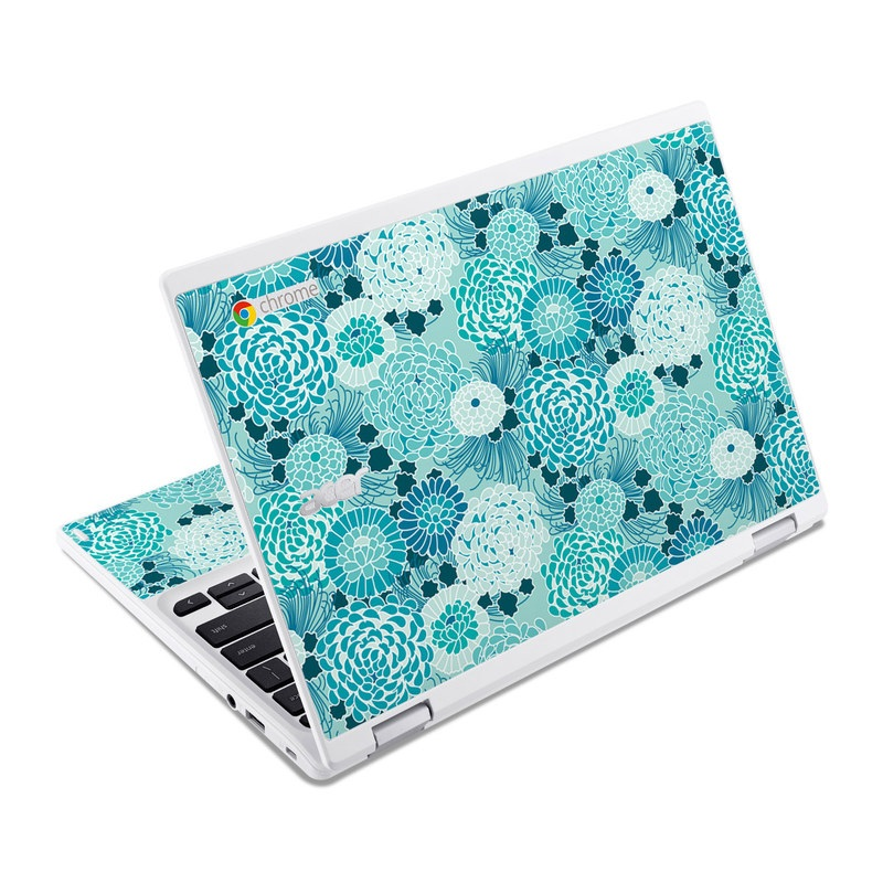 Acer Chromebook R 11 Skin design of Aqua, Blue, Turquoise, Pattern, Teal, Design, Textile, Lace, Pedicel, Circle with blue, white colors
