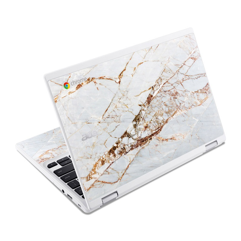 Acer Chromebook R 11 Skin design of White, Branch, Twig, Beige, Marble, Plant, Tile with white, gray, yellow colors