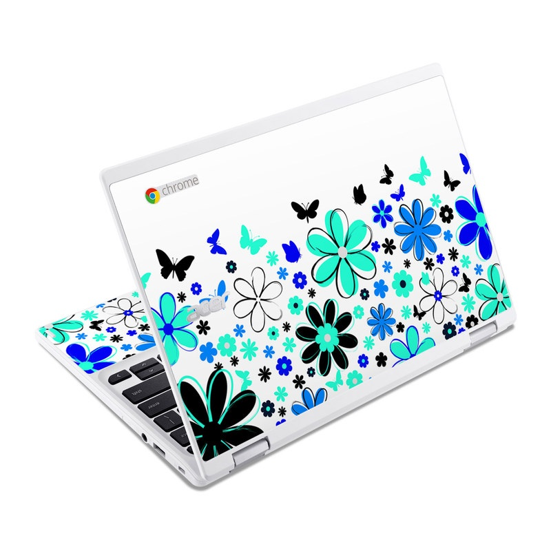 Acer Chromebook R 11 Skin design of Blue, Leaf, Plant, Pattern, Design, Flower, Clip art, Floral design, Petal, Pedicel with white, black, green, gray, blue, purple colors