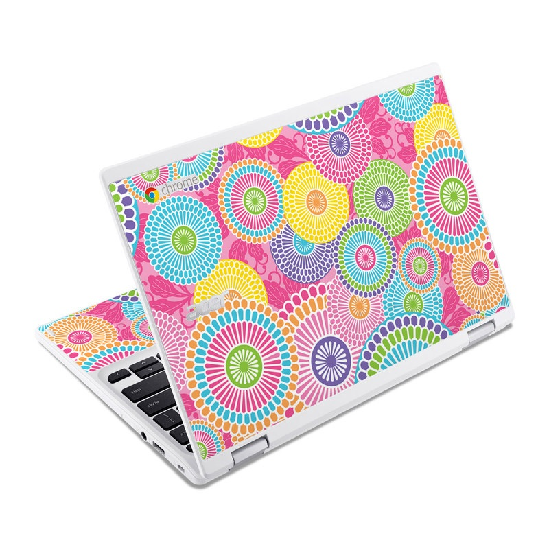 Acer Chromebook R 11 Skin design of Pattern, Circle, Textile, Design, Visual arts, Wrapping paper with gray, pink, purple, orange, blue, green colors