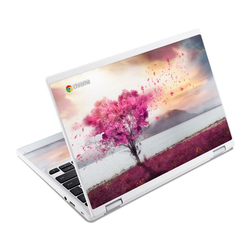 Acer Chromebook R 11 Skin design of Sky, Nature, Natural landscape, Pink, Tree, Spring, Purple, Landscape, Cloud, Magenta with pink, yellow, blue, black, gray colors