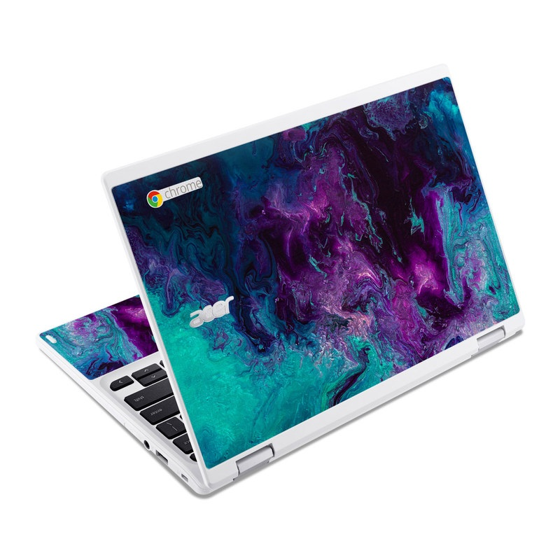 Acer Chromebook R 11 Skin design of Blue, Purple, Violet, Water, Turquoise, Aqua, Pink, Magenta, Teal, Electric blue with blue, purple, black colors