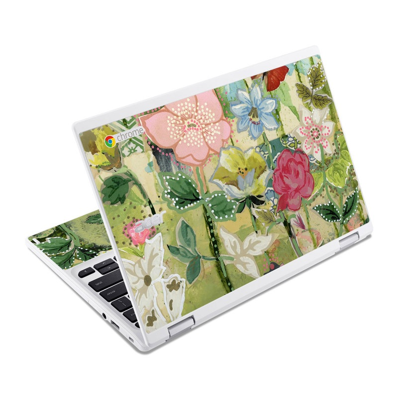 Acer Chromebook R 11 Skin design of Flower, Plant, Botany, Pink, Wildflower, Flowering plant, Watercolor paint, Petal, Floral design, Pattern with green, pink, red, blue, white, black colors