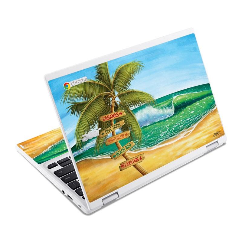 Acer Chromebook R 11 Skin design of Palm tree, Arecales, Tropics, Tree, Caribbean, Wave, Water, Coconut, Ocean, Elaeis with green, purple, gray, black, blue colors