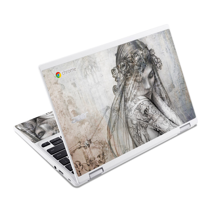 Acer Chromebook R 11 Skin design of Lady, Art, Illustration, Drawing, Painting, Sketch, Mythology, Figure drawing, Long hair, Visual arts with white, gray, black colors