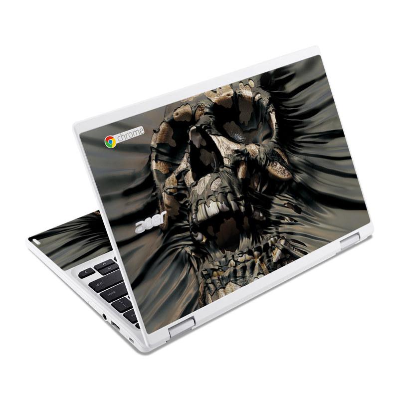 Acer Chromebook R 11 Skin design of Cg artwork, Fictional character, Illustration, Demon, Fiction, Supervillain, Mythology, Art with black, green, gray, red colors