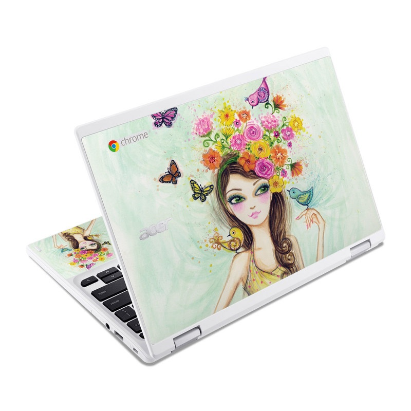 Acer Chromebook R 11 Skin design of Pink, Illustration, Fashion illustration, Watercolor paint, Fictional character, Dress, Hair accessory, Wildflower, Costume, Plant with blue, pink, yellow, orange, purple, brown, green colors