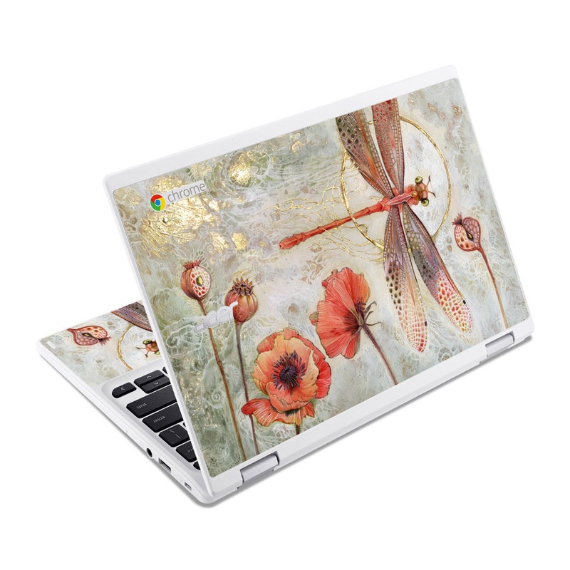 Acer Chromebook R 11 Skin design of Watercolor paint, Botany, Flower, Illustration, Floral design, Painting, Plant, Coquelicot, Art, Still life photography with red, yellow, gray colors