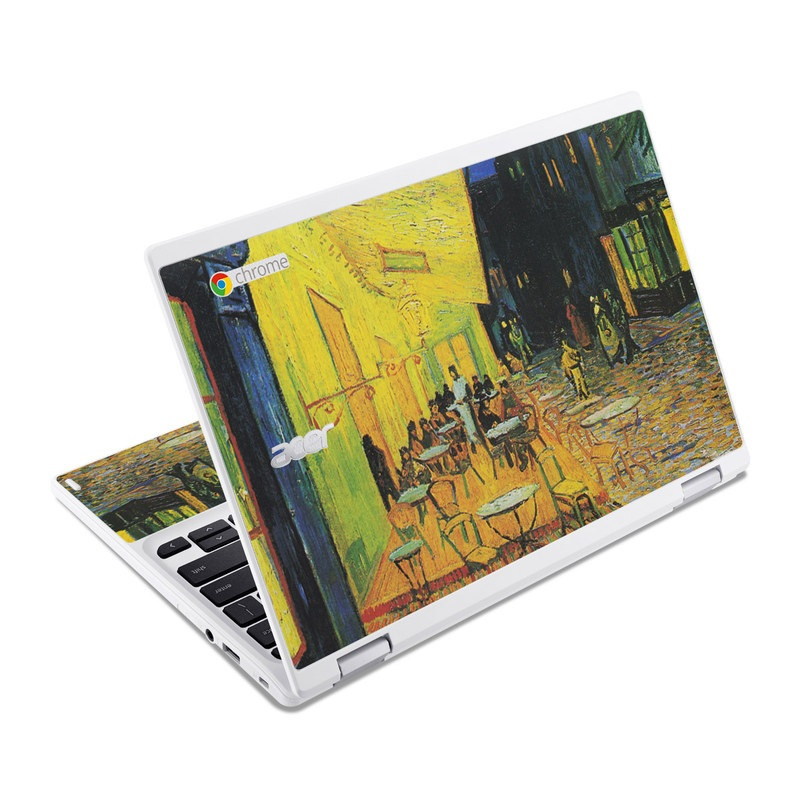 Acer Chromebook R 11 Skin design of Painting, Art, Yellow, Watercolor paint, Illustration, Modern art, Visual arts, Street, Infrastructure, Tree with green, black, blue, gray, red colors