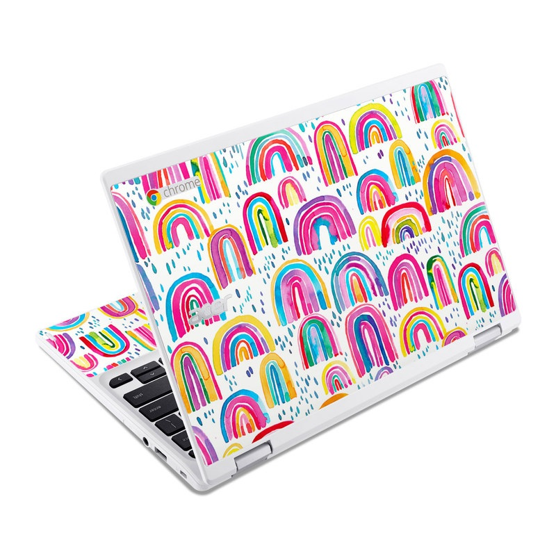 Acer Chromebook R 11 Skin design of Line, Pattern, Design with white, orange, yellow, blue, pink, red, green colors