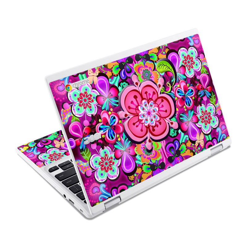 Acer Chromebook R 11 Skin design of Pattern, Pink, Design, Textile, Magenta, Art, Visual arts, Paisley with purple, black, red, gray, blue colors