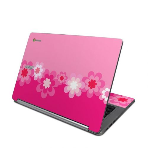 Retro Pink Flowers Acer Chromebook R 13 Skin