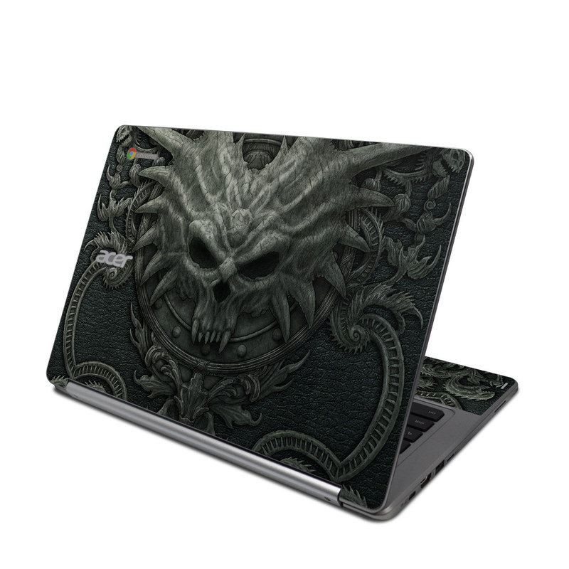 Acer Chromebook R 13 Skin design of Demon, Dragon, Fictional character, Illustration, Supernatural creature, Drawing, Symmetry, Art, Mythology, Mythical creature with black, gray colors