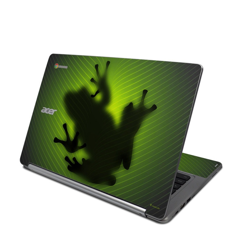 Acer Chromebook R 13 Skin design of Green, Frog, Tree frog, Amphibian, Shadow, Silhouette, Macro photography, Illustration with green, black colors