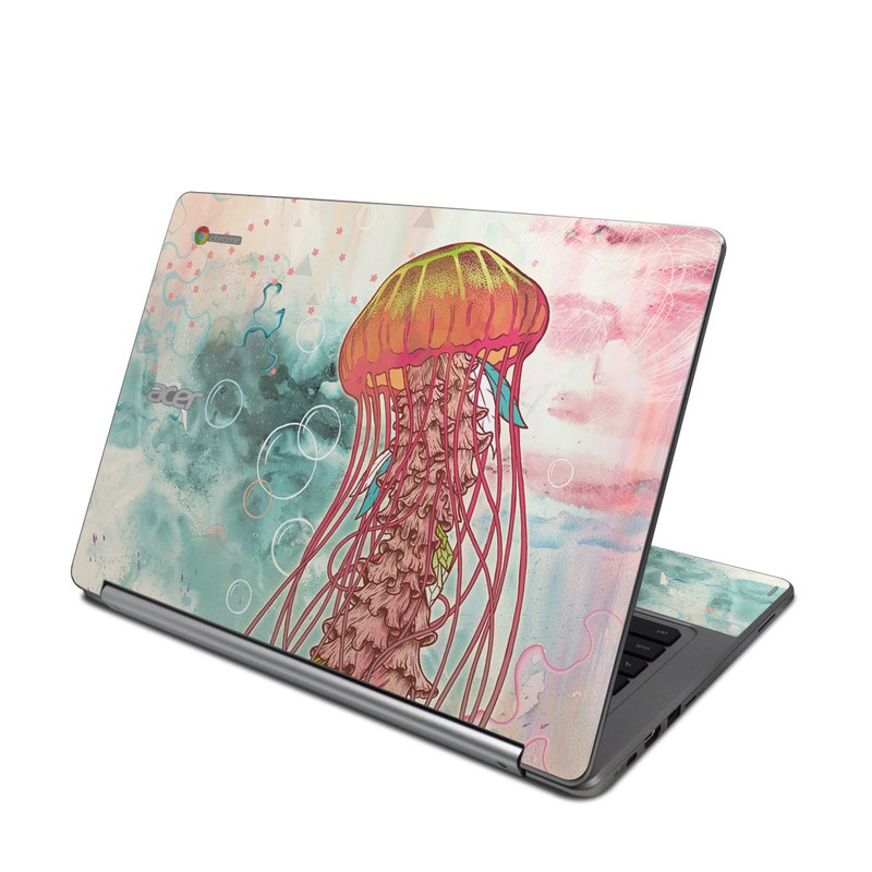Acer Chromebook R 13 Skin design of Jellyfish, Illustration, Water, Cnidaria, Marine invertebrates, Organism, Portuguese man o' war, Art, Nepenthes, Invertebrate with gray, pink, yellow, red, green colors