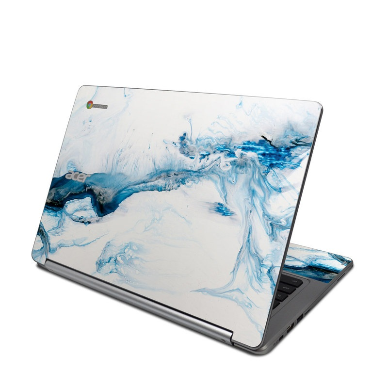 Acer Chromebook R 13 Skin design of Glacial landform, Blue, Water, Glacier, Sky, Arctic, Ice cap, Watercolor paint, Drawing, Art with white, blue, black colors