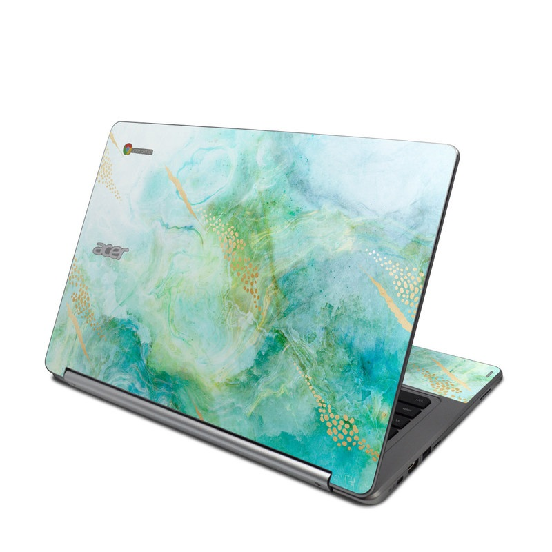 Acer Chromebook R 13 Skin design of Blue, Watercolor paint, Aqua, Line, Sky, Design, Pattern, Art, Illustration with blue, yellow, orange colors