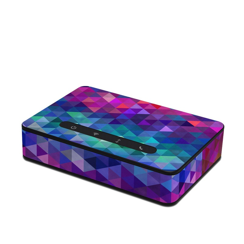 Amazon Echo Connect Skin design of Purple, Violet, Pattern, Blue, Magenta, Triangle, Line, Design, Graphic design, Symmetry with blue, purple, green, red, pink colors
