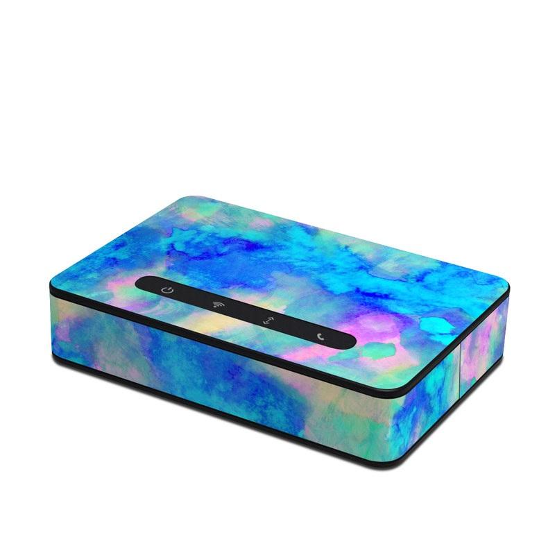 Amazon Echo Connect Skin design of Blue, Turquoise, Aqua, Pattern, Dye, Design, Sky, Electric blue, Art, Watercolor paint with blue, purple colors