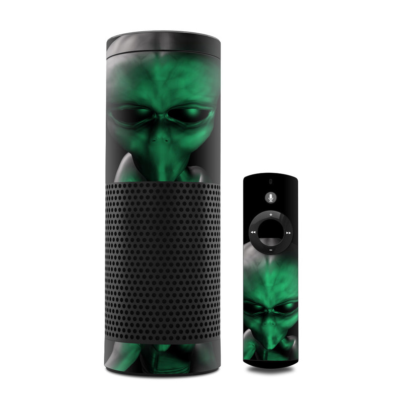 Amazon Echo 1st Gen Skin design of Green, Head, Fictional character, Close-up, Art, Action figure, Supervillain with black, green colors