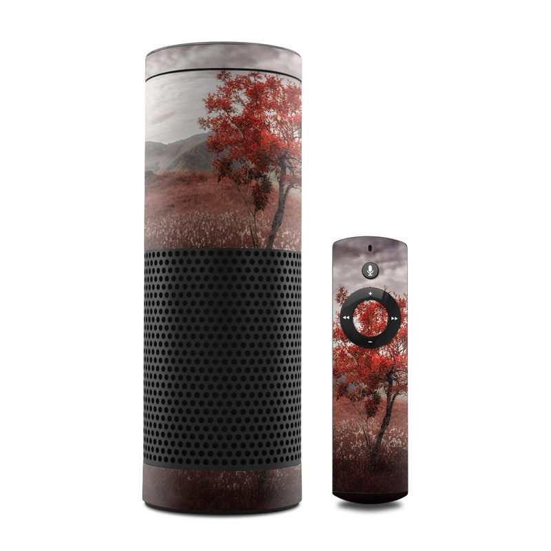 Amazon Echo 1st Gen Skin design of Natural landscape, Nature, Tree, Sky, Red, Natural environment, Atmospheric phenomenon, Leaf, Cloud, Woody plant with black, gray, red colors